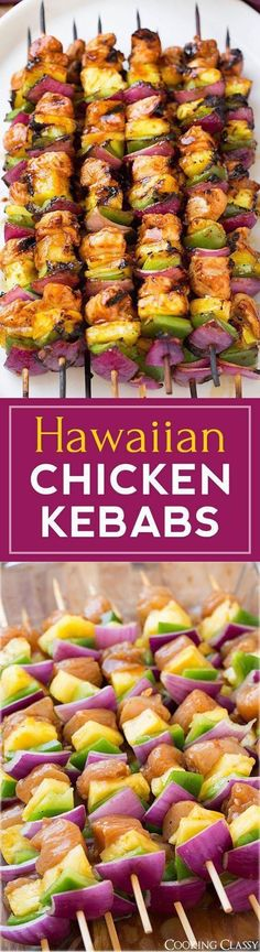 Hawaiian Chicken Kebabs - these are incredibly DELICIOUS! My husband and I loved them! Perfect for a summer meal. Hawaiian Chicken Kebabs - these are incredibly DELICIOUS! My husband and I loved them! Perfect for a summer meal. Grilling Recipes, Cooking Recipes, Healthy Recipes, Healthy Grilling, Lunch Recipes, Kabob Recipes, Recipes Dinner, Cooking Ideas, Cocktail Recipes