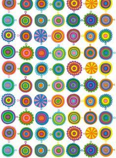 Lappuliisa-kangas (valko,sini,kelta,vihreä,lila) |Kankaat, Puuvillakankaat | Marimekko