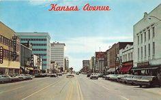"Kansas Avenue looking South, main street of Topeka, Classic Cars, "" Main Street, Street View, Sales Image, Original Image, Maine, Classic Cars, Topeka Kansas, Postcards, 1970s"