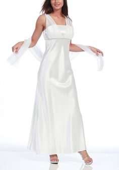 White Bridesmaid Dress Long Charmeuse and Chiffon Gown  $87.99