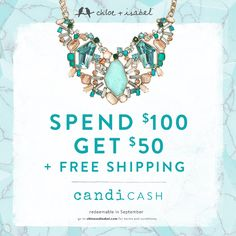 Spend $100 this month + earn $50 in FREE jewelry credit (with Free Shipping!) to redeem in September!