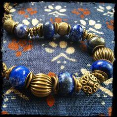 jewelry, bijou, necklace Колье. Фурнитура - античная бронза, бусины - лазурит, ляпис-лазурит.