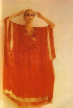Marie Helvin wearing Thea Porter by Bailey. Vogue UK 1975