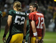 Clay Matthews and Aaron Rodgers in August at Training Camp Image © Packers Packers Baby, Go Packers, Packers Football, Football Baby, Football Season, Greenbay Packers, Green Bay Packers Fans, Green Bay Football, Clay Matthews