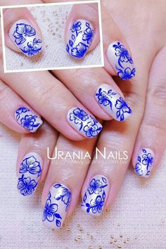 Absolutely beautiful blue floral nailart #nailart #nails #blue #floral