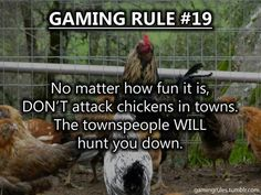 Posted, chicken killing will result in a mass mob chasing you all over Tamriel. LEAVE OUR CHICKEN'S ALONE!<--Welcpme to skyrim everyone Funny Gaming Memes, Gamer Humor, Funny Relatable Memes, Computer Memes, Video Game Logic, Video Games Funny, Funny Games, Gamer Quotes, Gaming Rules