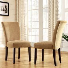 Oxford Creek Rachel Camel Chenille Parson Chairs (Set of 2) Beige & Tan