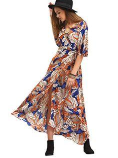 Milumia Women's Boho Deep V Neck Floral Chiffon Wrap Split Long Maxi Dress Trendy Outfits, Fashion Outfits, 50 Fashion, Fashion Styles, Womens Fashion, Cheap Boutique Clothing, Maxi Wrap Dress, Maxi Dresses, Affordable Dresses