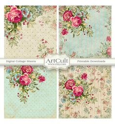ROMANTIC ROSES 3.8x3.8 inch Images Printable Collage by ArtCult