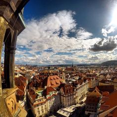 Beautiful view over the city of Prague in Czech Republic. These cities in Eastern Europe are known for their amazing old buildings. If you love to travel and to explore the beautiful architecture of a city, then Prague is definitely a place to go. #GoPro #city #prague #czechrepublic #architecture #travel #wanderlust