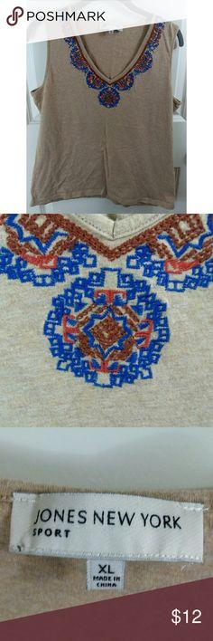 Jones New York Tan Aztec Collar V-Neck Top Jones New York Tan Aztec Collar V-Neck Top. Lightly worn with no flaws. See picturea for details. Jones New York Tops Tank Tops