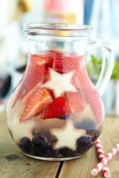 Red, White, and Blue Sangria:      Strawberries, sliced Blueberries, Pineapple  cut into star shapes, 2 bottles dry white wine, 1 c Triple Sec, 1/2 c berry-flavored vodka, 1/2 c lemon juice, 1/2 c simple syrup.  Combine the ingredients in a large pitcher and stir. Chill for at least four hours.