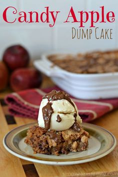 15 Ridiculously Easy Dump Cakes You Can Make in a Flash- Candy Apple Dump Cake- Add diced chocolate bars and apples for a whimsical play on a candy apple. Get the recipe at redbookmag.com.
