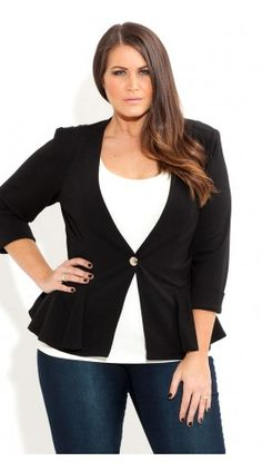 Plus Size Sexy Peplum Jacket - City Chic - City Chic