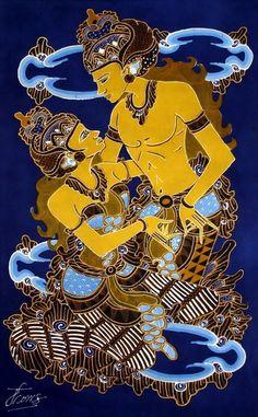 Etnic Indonesia Batik Painting for Wall Hanging / Decor Batik Pattern, Madhubani Art, Art Story, Unique Paintings, Shadow Puppets, Doodles Zentangles, Doodle Art, Indie, Wall Decor