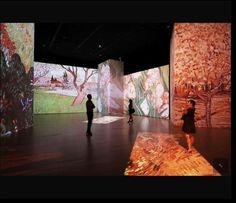 Projection/shaddowing: we could use projection to project pictures onto different screens around the audotorium to create the different scenes.