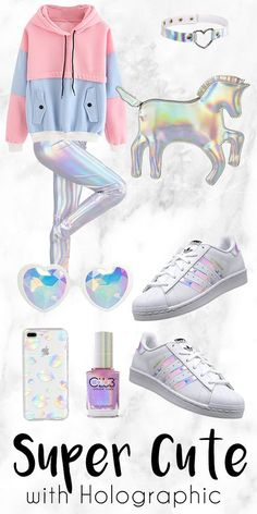 Get This Look. Super Cute with Holographic Holographic as in reflecting rainbow . Cute Girl Outfits, Cute Outfits For Kids, Trendy Outfits, Summer Outfits, Summer Clothes, Girls Fashion Clothes, Teen Fashion Outfits, Kids Fashion, Fashion Fashion