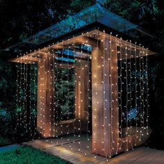 Better Homes & Gardens Outdoor LED Curtain Lights, White Backyard Projects, Backyard Patio, Backyard Landscaping, Landscaping Ideas, Backyard Canopy, Canopy Outdoor, Indoor Outdoor, Better Homes And Gardens, Led Curtain Lights