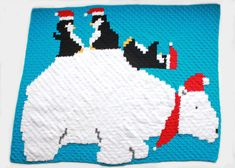 The Polar Bear & Penguin Pals Graphgan Blanket is a free crochet pattern for a textured and adorable blanket! Polar Bears & Penguins having fun! Hdc Crochet, All Free Crochet, Double Crochet, Free Knitting, Afghan Crochet Patterns, Crochet Afghans, Crocheting Patterns, Blanket Patterns, Crochet Squares