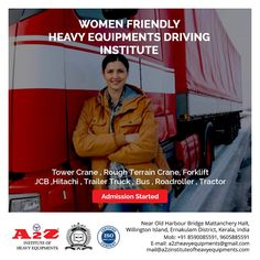 Started in 1978 as Kerala's First Heavy Driving School also Pioneer in moulding great women operators to find rewarding career opportunities in various industry segments across the Globe.  A2Z Institute of Heavy Equipments & Driving School ☎️8590085591 📞9605885591 📧mail@a2zinstituteofheavyequipments.com #a2zinstituteofheavyequipment #drivingschool #drivinginstructor #driving #drivesafe Harbor Bridge, Driving Instructor, Training School, Career Opportunities, Great Women, Moulding, Heavy Equipment, Kerala, Tractors