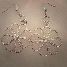 Daisy Earrings Silver petals with faux diamond center Jewelry Earrings