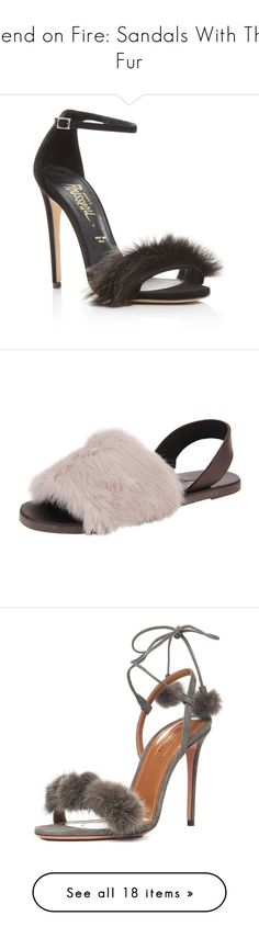 """Trend on Fire: Sandals With The Fur"" by polyvore-editorial ❤ liked on Polyvore featuring furrysandals, shoes, sandals, black heeled sandals, jerome c. rousseau, jerome c rousseau shoes, kohl shoes, ankle strap sandals, fuschia and flat shoes"