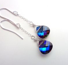 Peacock Blue Briolette Earrings - Swarovski Blue Crystal Earrings