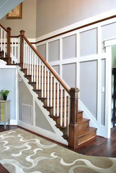 Wall trim work, would be really easy to do! Stair Walls, Wood Stairs, Staircase Molding, Wall Trim, Trim On Walls, Young House Love, Moldings And Trim, My Dream Home, Home Projects