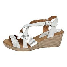 NOELIA ,  Damen Sandalen , weiß - Weiß / Silber - Größe: 40 - Zehentrenner für frauen (*Partner-Link)