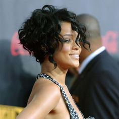 Rihanna short curly hair edgy bob