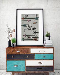 Artist Shanni Welsh's Arrow art print.  Typography print-Make your own Path. Arrow poster. Inspirational art print for home or office.