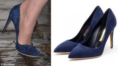 22.04.2016 Kate accessorized with her navy suede Malory pumps from Rupert Sanderson