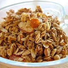 This sweet, crunchy homemade granola combines quick oats with peanuts, wheat germ, honey, brown sugar, and vanilla. Baked in the oven, it's easy to make.