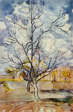 Pink Peach Trees, 1888, Vincent van Gogh  Medium: watercolor on paper