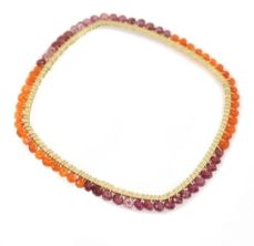 Square bangle, Gemstone Orange and Pink by Fotini Jewelry Designs. American Made. See the designer's work at the 2015 American Made Show, Washington DC. January 16-19, 2015. americanmadeshow.com #bracelet, #bangle, #carnelian, #pinkgarnet, #americanmade, #jewelry