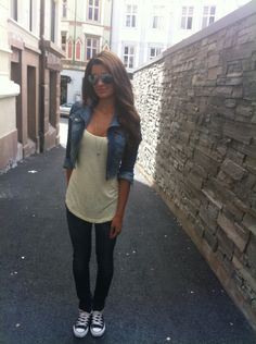 *LOVE this casual look of long silky white tee/tanktop with denim jacket and wet look leggings and chucks!!