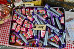 Retro sweets in a tin