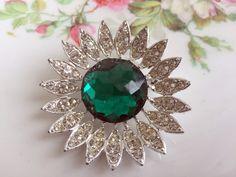 Vintage Rhinestone Emerald Green Flower Sarah Coventry Silvertone by Holliezhobbiez on Etsy