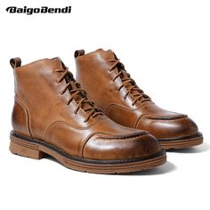 369723291267 British Martin Boots Men Autumn Fashion Lace Up Ankle Boots Boys Round Toe  Riding Boots Winter Casual Shoes