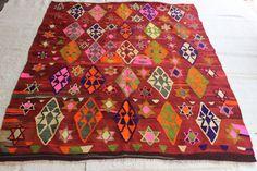 Turkish Rug,Pink Kilim Rug,Decorative Anatolian Rug,Floor Rug,Handwoven Rug,Home…