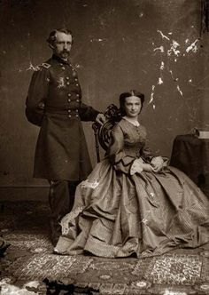 General George Custer & Wife. It was taken between 1860 and 1865.    The image shows United States.