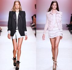 Isabel Marant 2014 Spring Summer Womens Runway Collection - Paris Fashion Week - Mode à Paris - Denim Jeans Cutoffs Shorts Patchwork Sheer C...
