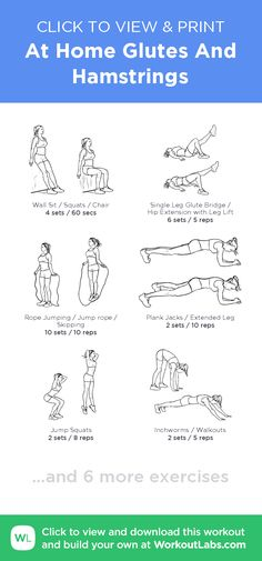 At Home Glutes And Hamstrings –click to view and print this illustrated exercise plan created with #WorkoutLabsFit