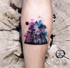 Watercolor forest tattoo by Koray Karagozler