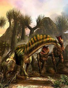 Amargasaurus and Carnotaurus by Kurt Miller