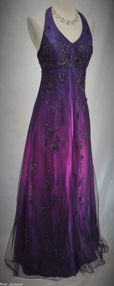 Morgan Co Gown Formal Dress Halter Sequin Beaded Mesh Purple Ombre Sz 3 4 New | eBay