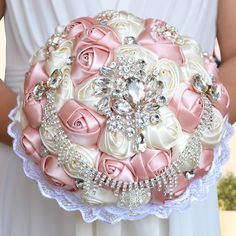Gorgeous Wedding Bouquet  Brooch Bridal bouquet Ivory Artificial Rose Flower Bride Bouquets Wedding Accessories A0002
