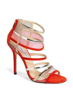 Jimmy Choo High Heel Choo Mai Tai strappy sandals Flame Suede pumps shoes