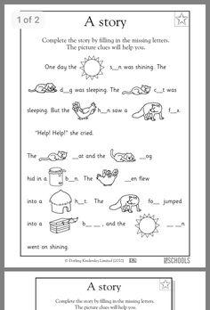 Kindergarten, Preschool Reading, Writing Worksheets: Missing letters: -oat, -ell, and -all