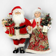 The Mr. and Mrs. Claus Traditional from Karen Didion Originals brings the joy of Christmas into your home. The quality of this figurine is unmatched with its hand-painted face, glass inset eyes, real mohair beard, unique fabric, and detailed accessories.